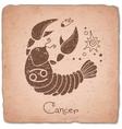 Cancer zodiac sign horoscope vintage card vector image