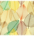 Colorful autumnal outline leaves seamless pattern vector image