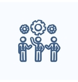 Businessmen under the gears sketch icon vector image
