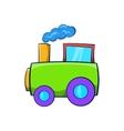 Green toy train icon cartoon style vector image