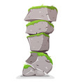 boulders tower with grass vector image