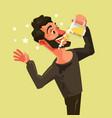 happy man character drinks beer vector image