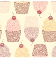 Seamless background with cupcakes vector image