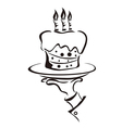 cake in hand vector image vector image