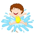 Cartoon Girl jumping to the water vector image
