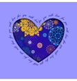 Winter heart design with golden blue snowflakes vector image