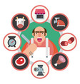 butcher man with his business and icons vector image