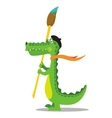 Cartoon crocodile painter with brush in beret vector image