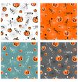 Halloween pumpkins and skeleton backgrounds vector image