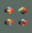 Vintage cube symbols vector image
