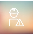 Worker in caution sign thin line icon vector image