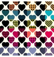Hearts on plaid background vector image
