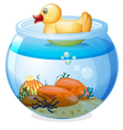 An aquarium with a rubber duck vector image vector image
