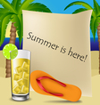 Text frame with cocktail and flip flop vector image vector image
