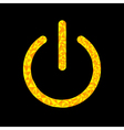 Yellow power button icon Black background Polygona vector image