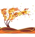 Autumn grunge tree in the wind vector image vector image