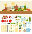Set for cooking pasta at home vector image