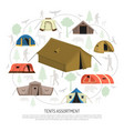 camping tents selection composition advertisement vector image