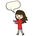 cartoon happy girl with speech bubble vector image