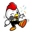 chicken character have happy singing chicken vector image
