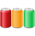 coloured aluminum cans with soda vector image