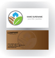 home organic green logo business card vector image