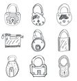 Set of nine hand drawn padlocks vector image