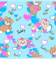 Teddy bears seamless pattern vector image