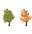 Autumn and summer grunge tree in the wind vector image vector image