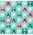 Christmas flat seamless pattern with penguins vector image