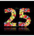 number twenty five made from fruits vector image vector image