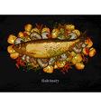 fish dish with a garnish vector image