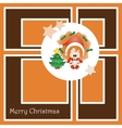 Christmas card with cute little girl vector image