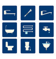 flat bathroom icons set on blue background vector image