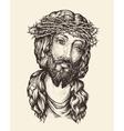 Portrait of Jesus Christ Hand drawn sketch vector image