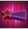 Retro poster with neon star board vector image