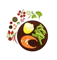 Salmon Grilled Steak on Plate vector image