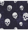seamless halloween grunge pattern with skulls vector image
