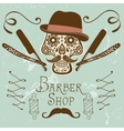 Skull with mustache and hat Retro style hand vector image