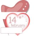 Valentine calendar icon Love heart invitation card vector image