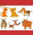 cute dog animals set vector image