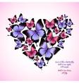Colorful butterflies heart shape pattern vector image