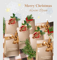 merry christmas paper handmade gifts with red vector image