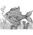 zen tangle stylized abstract fish isolated on vector image