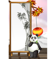 A panda with a bamboo-designed frame vector image