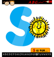 letter s with sun cartoon vector image vector image