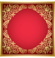 decorative red card with golden frame vector image
