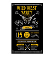 Invitation wild west party flyer Typography and vector image