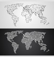 abstract polygonal world map from triangles and vector image