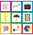 flat icon incoming set of graph growth parasol vector image